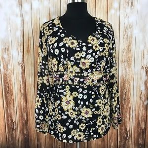 Lane Bryant sheer peasant top floral sequins black